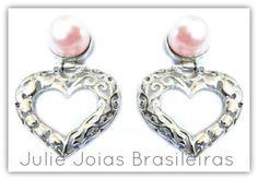 Brincos em prata 950 e pérola (950 silver earrings with pearl)