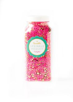 Jumbo Bottle 16 oz Party Dress Twinkle Pink and Gold Sprinkles by Sweetapolita