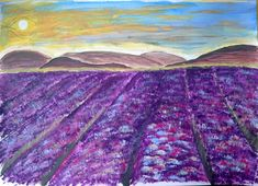 Purple field  ~ Acrylic on paper