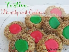 thumbprint cookies with icing | Festive Thumbprint Cookies from AmysFinerThings.com