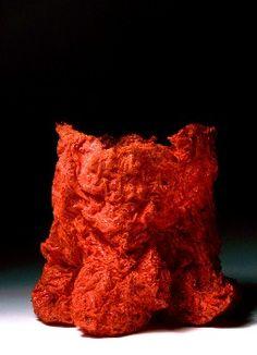 Red Torso Three by Kiyomi Iwata Stitch Box, Textiles, Silk Organza, Japanese Artists, Ikebana, Painting Inspiration, Sculpting, Fiber, Weaving