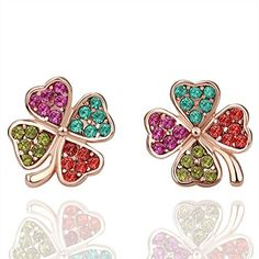 delatcha 14 Zircon Clover Heart Earing Rose Gold Plated Stud Earrings For Women Bijou Piercing Brinco Ouro Earings Fashion Jewelry E059 ** Details can be found by clicking on the image.
