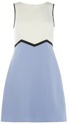 $29, Light Blue Skater Dress: Dorothy Perkins Ivory And Blue Zigzag Skater Dress. Sold by Dorothy Perkins. Click for more info: https://lookastic.com/women/shop_items/283682/redirect