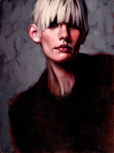 Oil painting portrait woman blonde gray Talk To by KatherineFraser, $1200.00