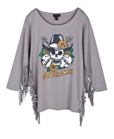 Gray Batwing T-shirt with Tassel to Sleeves and Side