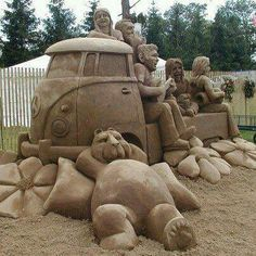 VW bus truck sand sculpture type 2 Volkswagen single cab