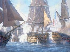 The Victory breaks the French Line. Battle of Trafalgar.