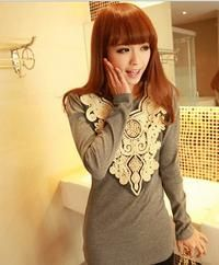 Grey Pretty Long-sleeve Korean Blouse with Exuberant Floral Applique