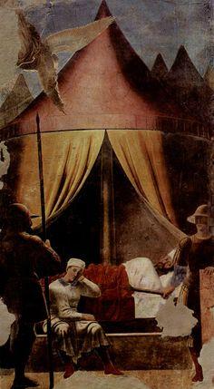 Piero della Francesca - Fresco  V - El sueño de Constantino, una de las primeras escenas nocturnas en el arte occidental (imagen anterior a la restauración) - Basílica de San Francisco de Arezzo, Toscana (Procedencia: http://es.wikipedia.org/wiki/Leyenda_de_la_cruz_%28Piero_della_Francesca%29)