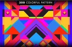 300 Colorful Retro Geometric Pattern - Patterns