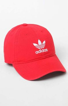 13c0a7a4aa4aa adidas Relaxed Red Strapback Dad Hat Adidas Women