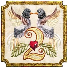 Two Turtledoves so much in love! A lovely addition to our 12 Days of Christmas Designs! San Francisco Stitch Co. Twelve Days Of Christmas, Christmas Cross, Christmas Ideas, Merry Christmas, Machine Embroidery Applique, Free Machine Embroidery Designs, Christmas Embroidery Patterns, Miniature Quilts, Cross Stitch Patterns