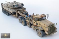 Desert Storm tank transporter M911 C-HET, M747 trailer (Minimanfactory resin), and old Dragon M1A1 Abrams.