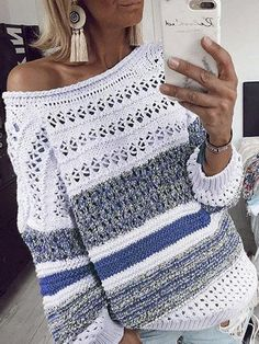 Women Fashion Stripe Casual Sweater Knitted Hollow Out Long Sleeve Sweater Top Pullover For Women Ropa Mujer Invierno 2019 Loose Sweater, Sweater And Shorts, Long Sleeve Sweater, Long Sleeve Tops, Casual Sweaters, Long Sweaters, Pullover Sweaters, Sweaters For Women, Knit Sweaters