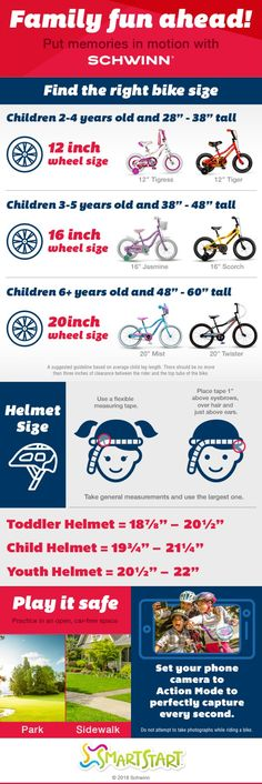 Check out this super helpful printable Ride Guide - to find the best kids bike and kids bike helmet sizes for your child - so you can have a FUN and SAFE summer! (Plus enter the too! Best Kids Bike, Bike Tattoos, Bicycle Maintenance, Cool Bike Accessories, Cool Bikes, 6 Years, Riding Helmets, Children, Fun