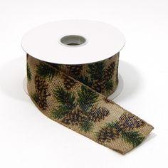 #40 Burlap Pinecone Ribbon 10yds Item # 4429066740