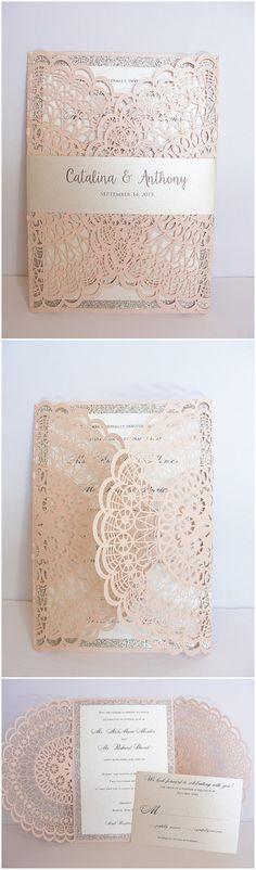 2016 Einladungskarten Hochzeit mit Laser-Ausschnitt in pink #weddinginvitations #lace #pinkwedding