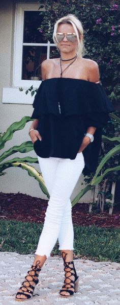 #spring #outfits Black Off The Shoulder Top + White Cropped Jeans + Black Sandals