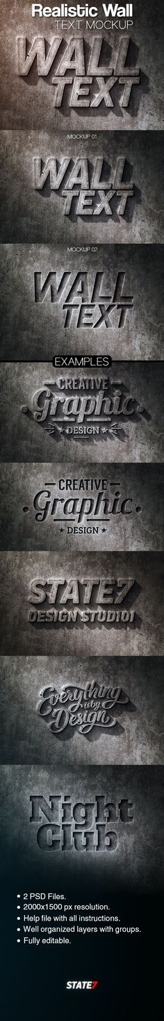 Realistic Wall Text Mockup by STATE7 | GraphicRiver Photoshop Tutorial, Photoshop Fonts, Photoshop Text Effects, Photoshop Illustrator, Illustrator Tutorials, Photoshop Design, Graphic Design Tutorials, Graphic Design Inspiration, Wall Text