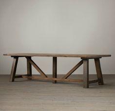 Oak trestle dining table from Restoration Hardware - Decoist