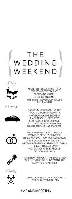 Wedding Door Hanger Wedding Itinerary Wedding Weekend by LCOonEtsy