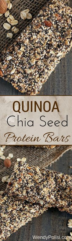 Quinoa Chia Seed Protein Bars. Need a quick breakfast or healthy grab and go snack? Make a batch of these clean eating protein bars to have on hand. Pin now to make later.