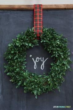 Easy DIY Christmas Chalkboard with Wreath - Life On Virginia Street