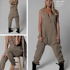 100% Linen drop crotch jumpsuit in dark khaki.