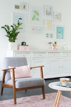 My livingroom - EKENÄSET IKEA chair - Bringinghappiness. blush pink and pale grey with lots of pastel accents. Her space. Home Living Room, Living Room Decor, Living Spaces, Apartment Interior, Apartment Living, Appartement Design, Interior Desing, Deco Design, Living Room Inspiration