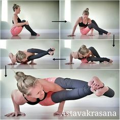 How to Astavakrasana / 8 Angle pose  . The first arm balance most students learn is generally crow pose, however in my opinion 8 Angle is way easier to learn than crow. . The way I am demoing here is the beginner friendly entry to it. (Most would enter from elephant trunk pose) . The key is in the LEAN forward. . Start in a seated position with knees bent. . Then twist to the right and place right hand outside right hip and left hand between the legs but line the hands up in line with ea...