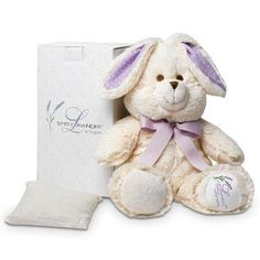 "Cuddly plush bunny hides a removable pouch of flaxseed and lavender buds to use warm or chilled. Comes in giftable box. 18"" h."