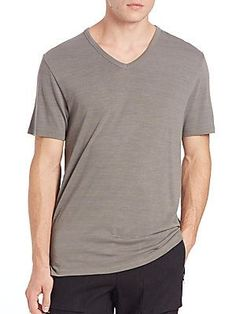 Vince Heathered V-Neck Tee - Castor Grey - Size L