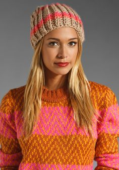 FREE PEOPLE Cozy Knit Beanie in Coral Combo at Revolve Clothing