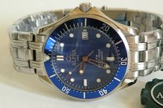 Alpha Seamaster Date Automatic Gents Watch Blue Ripple Dial Brand New ! Gents Watches, Fine Watches, Seiko Diver, Omega Watch, Buy Now, Bracelet Watch, Bling, Brand New, Affair