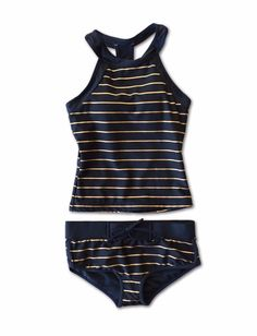 Navy and gold sporty tankini that is the most comfortable swimsuit ever. Modest two-piece for women and Tweens alike. Shiny gold. high quality.