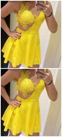 Cute Mini Yellow Satin Cocktail Dress, Appliques Short Prom Party Dress by olesaweddingdresses, $111.87 USD