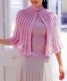 Stylish Easy Crochet: Crochet Cape Free Pattern - Simple and Beautiful ༺✿Ƭ. - Stylish Easy Crochet: Crochet Cape Free Pattern – Simple and Beautiful ༺✿ƬⱤღ www. Crochet Shawls And Wraps, Crochet Scarves, Crochet Clothes, Crochet Hats, Crochet Simple, Diy Crochet, Vintage Crochet, Crochet Shirt, Crochet Cape Pattern