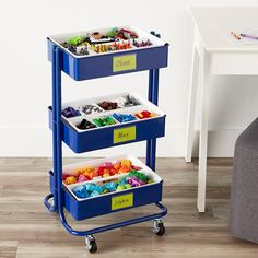 Our Kids' Craft & Toy Storage Cart includes: Indigo Blue Rolling Cart, Smart Store Handled Trays and Small Smart Store Inserts. A great gift for a crafty kid! Craft Storage Cart, Storage Trolley, Arts And Crafts Storage, Lego Storage, Nursery Supplies, Craft Supplies, Office Supplies, Office Supply Organization, Storage Organization