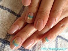 Nail Art summer | cool line of gold and green    涼しげなゴールドとグリーンのライン|夏ネイル