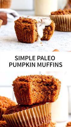 One bowl Simple Paleo Pumpkin Muffins have a soft crumb, crunchy coconut sugar topping, and are bursting with pumpkin spice. Paleo Pumpkin Recipes, Paleo Pumpkin Muffins, Gluten Free Pumpkin, Gluten Free Recipes, Baking Recipes, Banana Almond Flour Muffins, Paleo Pancakes, Sweet Potato Cupcakes, Sweet Potato Muffins
