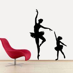BALLET DANCE - 48 high Elegant Mother Daugher Ballet Dancing Vinyl Wall Decal, Ballet Decal, Ballet Sticker, Girls Wall Stickers