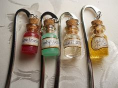 Harry Potter Glass Charm Bookmark, Mini Polyjuice, Felix Felicis, Amortentia and Veritaserum Potion, so cute