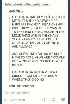 """Idk man, I get the feeling it will end it murder. That's the """"I've been on Tumblr for far too long"""" part of me speaking. The """"I've read wayyy to much fanfiction"""" part of me gets the feeling it will end in sex."""