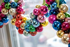 garland of ornaments ~ thread a bunch of ornaments onto a ribbon