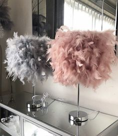 My Dressing Room Blush Pink Feather Table lamp.Decor Zucchini: A Power House of Nutri Bedroom Decor For Couples, Room Ideas Bedroom, Diy Bedroom Decor, Blush Pink And Grey Bedroom, Pink Room, Blush And Grey Living Room, Grey Wall Decor, Cute Room Decor, Feather Lamp