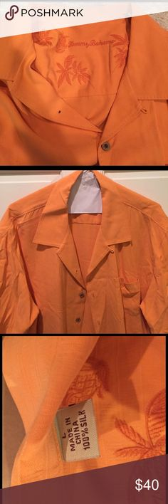 Tommy Bahama 100% silk breezer shirt Tommy Bahama silk breezer button up with front pocket. Size Large. Pale orange. Great condition. Tommy Bahama Shirts