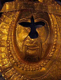 Gold mask of a Thracian king (5th century BCE) -- Vasil Bozhkov's private collection of rare Thracian artefacts, Sofia (Bulgaria)