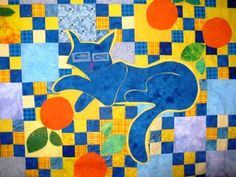Here the blue cat is stitched to the finished quilt top. The blue cat looks very happy among the oranges on this picnic quilt. Here are the pattern pieces for the Blue Cat With Oranges quilt. Cat Applique, Applique Quilts, Orange Quilt, Picnic Quilt, Cat Quilt, Thread Painting, Blue Cats, Quilt Tutorials, Quilt Top