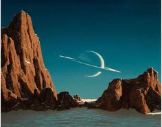 poster-Saturn Viewed from Titan, c. 1952  This is perhaps the most famous and recognized image Bonestell ever painted. This scene spotlight - 24 x 36