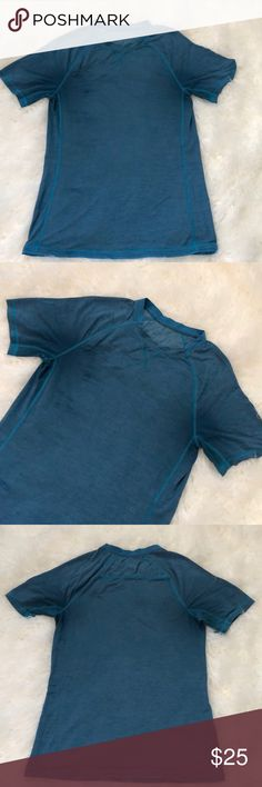 Men's lululemon shirt In good used conditions  As you can see in photos it has deodorant stains  But they're not very noticeable when wearing. Missing size dot but it is a size medium Slim workout shirt.  Checkout my listings for more awesome stuff lululemon athletica Shirts Tees - Short Sleeve